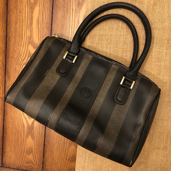 Fendi Handbags - Fendi Vintage Speedy Striped Small Leather Bag 48d9a0083b2fb